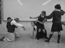 students working on improvisation